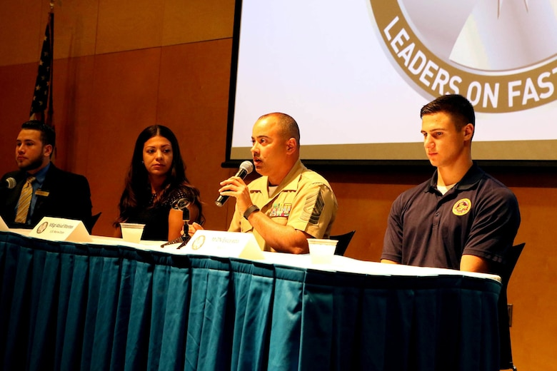 Master Sgt. Abiud Montes, a Marine Corps Recruiting Command recruiting support officer, speaks during a panel during the Latinos on the Fast Track Program's Body, Mind and Spirit Seminar held at Tulane University in New Orleans on April 24, 2017. The Marine Corps presented the seminar as part of the Hispanic Heritage Foundation who identifies, inspires, prepares, and connects Latinos Leaders in the community, classroom and workforce. (U.S. Marine Corps photo by Staff Sgt. Rubin J. Tan/Released)
