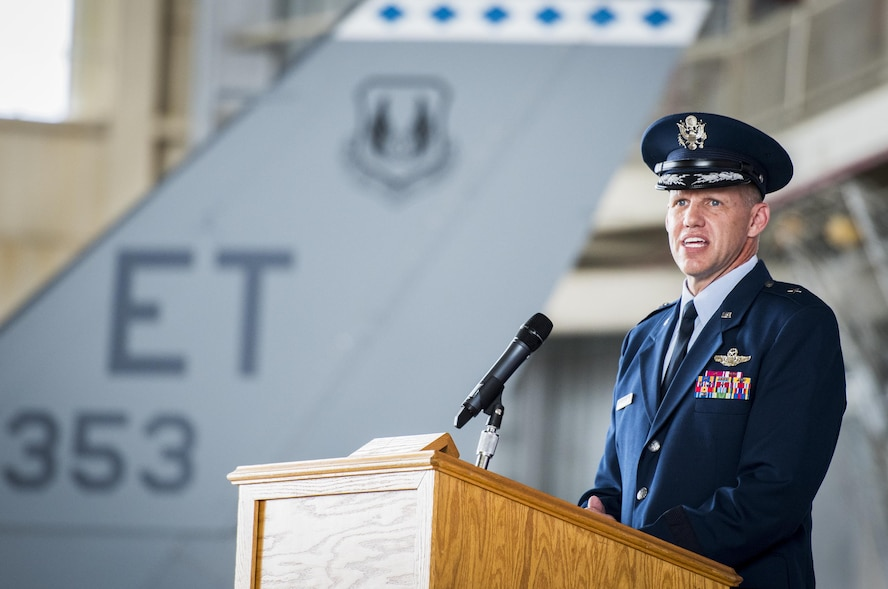 Brig. Gen. Evan Dertien speaks to the crowd after taking command of the 96th Test Wing during the wing's change of command ceremony at Eglin Air Force Base, Fla., May 31.  The command position is Dertien's third assignment to Team Eglin.  (U.S. Air Force photo/Samuel King Jr.)