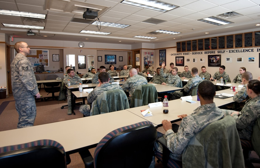 """Airman attend the First Term Airman Course at Ellsworth Air Force Base, S.D., March. 11, 2014. The new course, """"Airmanship 300,"""" is a continuation of the training Airmen receive during Basic Military Training and technical training school. (U.S. Air Force photo)"""