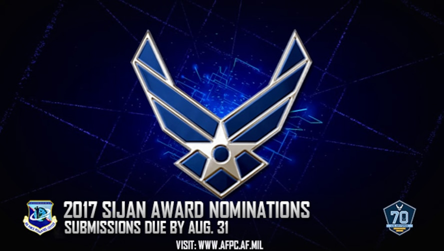 The Air Force is accepting nominations for the 2017 Lance P. Sijan U.S. Air Force Leadership Award. Nominations are due to the Air Force Personnel Center no later than Aug. 31. (U.S. Air Force graphic by Staff Sgt. Alexx Pons)