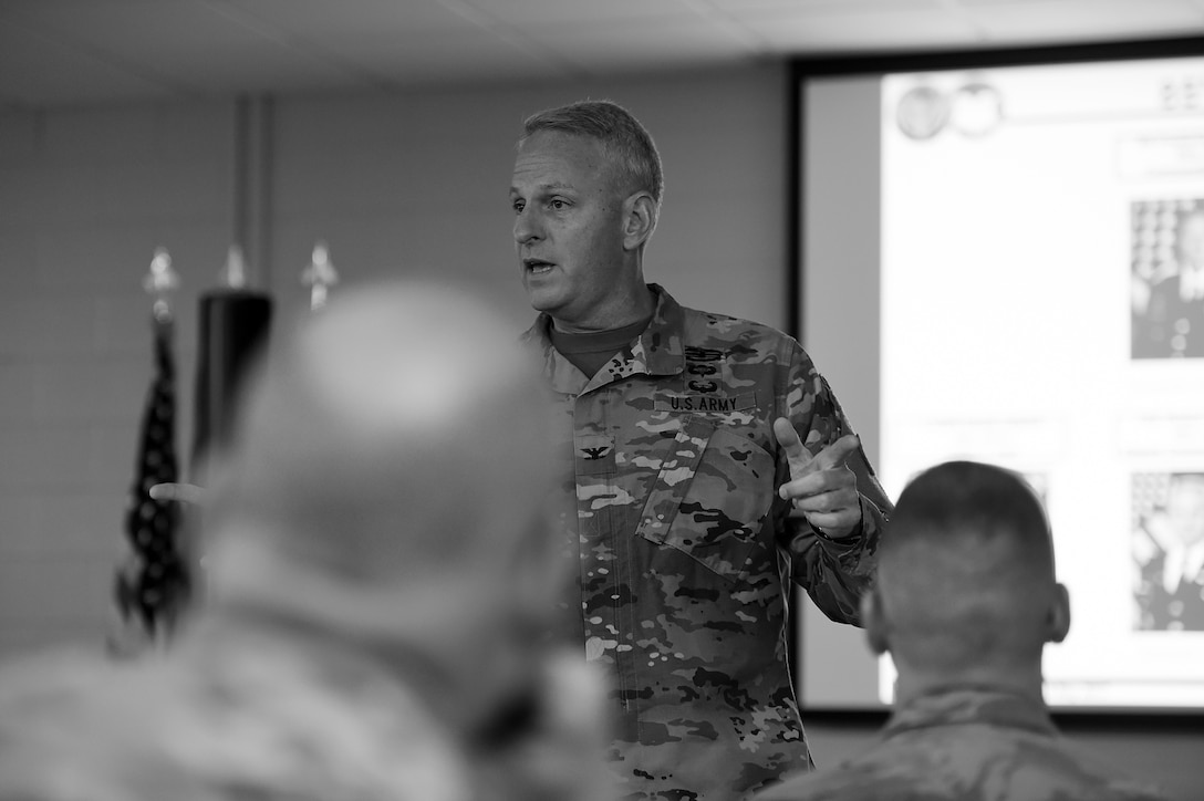 Col. Robert Cooley, Deputy Commanding Officer, 85th Support Command, discusses the importance of ensuring all Soldiers have everything they need to be ready to fight as soon as they are called upon, during the 85th SPT CMD's New Command Teams Orientation brief in Arlington Heights, Ill. on May 19-20, 2017. (U.S. Army photo by Sgt. Aaron Berogan/Released)