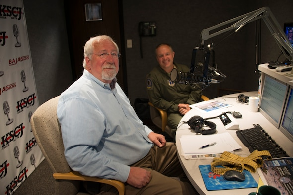 Charlie Stone of KSCJ radio talks with Colonel Larry Christensen, 185th Air Refueling Wing Commander, Iowa Air National Guard, during the KSCJ morning talk show program Open Line, in Sioux City, Iowa on June 1, 2017. Christensen was invited on the program in order to talk about the unit's open house event that will take place on June 10, 2017.