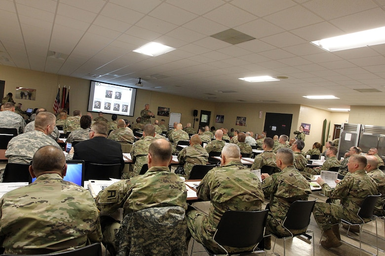 U.S. Army Reserve battalion command teams listen to opening remarks from Col. Robert Cooley, 85th Support Command deputy commander, during a New Command Teams Orientation held at 85th Support Command Headquarters in Arlington Heights, Ill., May 19-20, 2017. The orientation gave battalion command teams and Brigade Support Element staffs assigned to 85th Support Command, but operationally controlled by First Army, a better understanding of the practices and procedures that make up the hybrid relationship between First Army and the 85th SPT CMD. (U.S. Army photo by Master Sgt. Anthony L. Taylor)