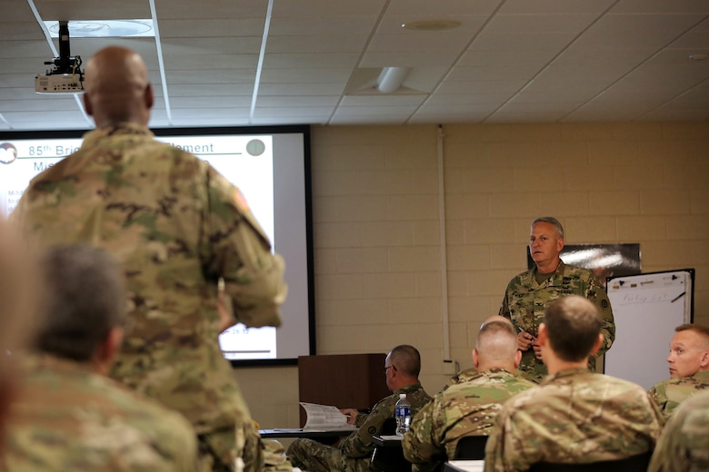 Col. Robert Cooley, right, 85th Support Command deputy commander, talks with battalion command team members during a New Command Teams Orientation held at 85th Support Command Headquarters in Arlington Heights, Ill.,  May 19-20, 2017. The orientation gave battalion command teams and Brigade Support Element staffs assigned to 85th Support Command, but operationally controlled by First Army, a better understanding of the practices and procedures that make up the hybrid relationship between First Army and the 85th SPT CMD. (U.S. Army photo by Master Sgt. Anthony L. Taylor)