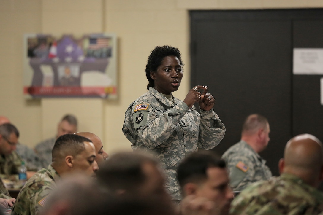 Command Sgt. Maj. Tresay Drapejones, command sergeant major of 3rd Battalion, 345th Training Support Regiment, 188th Infantry Brigade, discusses the medical readiness process during a New Command Teams Orientation held at 85th Support Command Headquarters in Arlington Heights, Ill., May 19-20, 2017. The orientation gave battalion command teams and Brigade Support Element staffs assigned to 85th Support Command, but operationally controlled by First Army, a better understanding of the practices and procedures that make up the hybrid relationship between First Army and the 85th SPT CMD.  (U.S. Army photo by Master Sgt. Anthony L. Taylor)