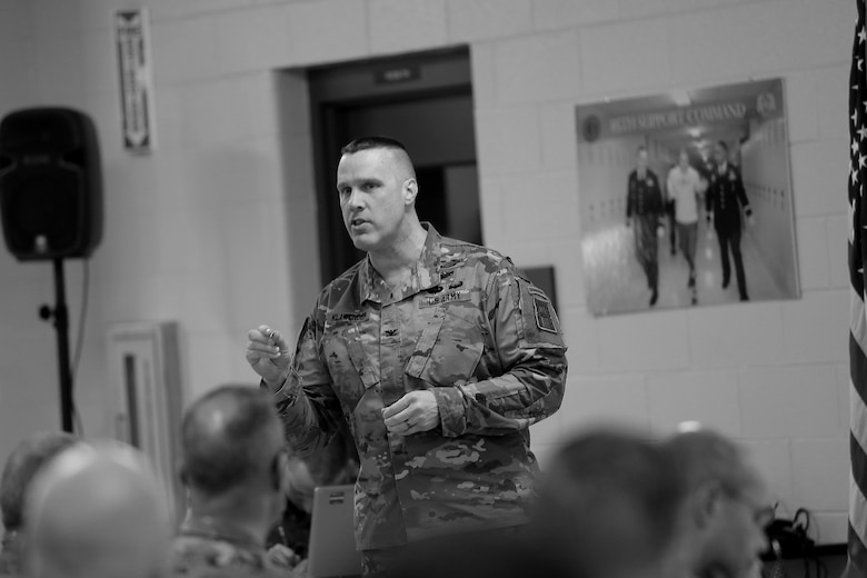 Col. Shawn Klawunder, First Army chief of staff, addresses command teams and Brigade Support Element staff members during a New Command Teams Orientation held at 85th Support Command Headquarters in Arlington Heights, Ill., May 19-20, 2017. The orientation gave battalion command teams and Brigade Support Element staffs assigned to 85th Support Command, but operationally controlled by First Army, a better understanding of the practices and procedures that make up the hybrid relationship between First Army and the 85th SPT CMD. (U.S. Army photo by Master Sgt. Anthony L. Taylor)