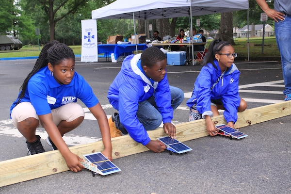 On your mark, get set, go!  Junior Solar Sprint participants design, construct and race solar-powered cars at the U.S. Army Engineer Research and Development Center in Vicksburg, Mississippi.