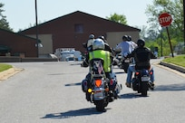 Defense Information School riders depart on the motorcycle safety check ride April 28, 2017, outside the school. The safety check ride demonstrates the facility's commitment to safety by ensuring riders wear all the proper gear while riding through the Fort Meade community.