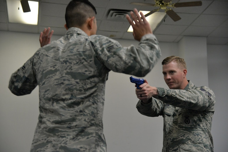 Staff Sgt. William Lamb, 741st Missile Security Forces Squadron tactical response force nuclear advance designated marksman program manager, right, and Airman 1st Class Cristian Hernandez Mendoza, 341st MSFS response force leader, train after being selected to attend Phoenix Raven training May 25, 2017, at Malmstrom Air Force Base, Mont. Three Airmen from Malmstrom have been selected to attend Phoenix Raven training, a first for Air Force Global Strike Command. (U.S. Air Force photo/Airman 1st Class Daniel Brosam)