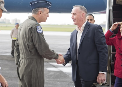 Marine Corps Gen. Joseph F. Dunford Jr., speaks with Air Force Lt. Gen. Jerry P. Martinez, commander, U.S. Forces Japan at Yokota Airbase June 1, 2017.