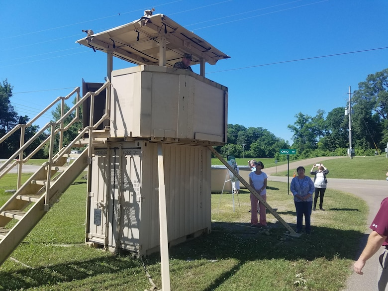 At the U.S. Army Engineer Research and Development Center, after finishing coffee and learning about the Vogel House, guests are provided a campus tour to learn about projects currently being worked on by ERDC employees. The Geotechnical and Structures Laboratory's Modular Protective System Multipurpose Guard Tower, shown in the photo, provides over watch for entry control point and perimeter protection. The tower may be reconfigured for different uses and has a multi-layered armor panel system allowing tailorable security based on the threat level.