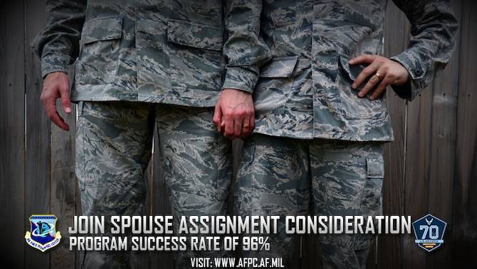 The Air Force will try to keep a military couple together and Airmen have a key role in the success of the assignment of military couples, otherwise known as Join Spouse. If a dual-military couple desires to be assigned together, the Air Force Personnel Center will do everything it can to make it work as evidenced by its placement rate of more than 96 percent. (U.S. Air Force photo by Staff Sgt. Alexx Pons)
