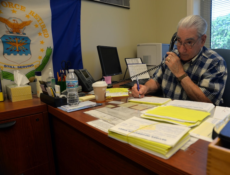 Joe Schwartz, a retired U.S. Army master sergeant and Offutt RAO deputy director, answers the phone at the Offutt Retiree Activities Office May 30, 2017 at Offutt Air Force Base, Neb. RAOs are made-up of retired volunteers from all services, including surviving spouses, whose sole mission is to assist retirees and surviving spouses by serving as an information center for base services including TRICARE; offering referrals for financial assistance and pay matters; and providing guidance and advice on retirement issues. Offutt's ROA currently consists of five volunteers who work one day per week from 9 a.m. to 2 p.m. in Buidling 49 answering phones and questions. For more information or to volunteer, call (402) 294-4566.