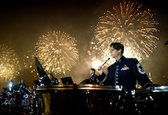 Chief Master Sgt. Erica Montgomery performs during the 2016 Macy's 4th of July fireworks celebration. Click on our web calendar to see a complete list of this years Independence Day concerts. (Photo by Chief Master Sgt. Bob Kamholz)