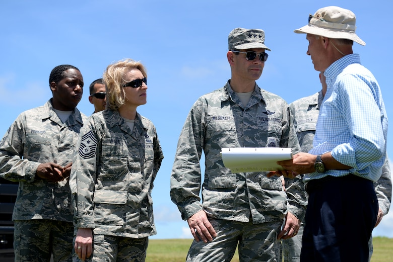 U.S. Air Force Lt. Gen. Kenneth S. Wilsbach, 11th Air Force commander, meets with Tom Spriggs, 36th Civil Engineering Squadron environmental flight chief, to talk about the current environmental programs June 1, 2017, at Andersen Air Force Base, Guam. Wilsbach and 11th Air Force command chief, Chief Master Sgt. Gay Veale, visited various units around base and conducted open discussions with Airmen before ending their visit with a base-wide all call. (U.S. Air Force photo by Airman 1st Class Gerald R. Willis)