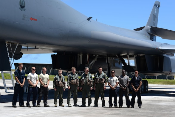 U.S. Air Force Lt. Gen. Kenneth S. Wilsbach, 11th Air Force commander, poses for a photo with Airmen assigned to the 9th Expeditionary Bomb Squadron June 2, 2017, at Andersen Air Force Base, Guam. Wilsbach visited Guam to interact with Airmen and leaders from Andersen AFB and Naval Base Guam. (U.S. Air Force photo by Airman 1st Class Gerald R. Willis)