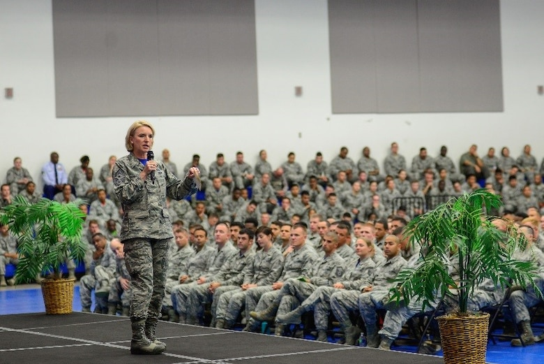 Chief Master Sgt. Gay Veale, 11th Air Force command chief, speaks to the enlisted force at Andersen Air Force Base, Guam, June 2, 2017. Veale and 11th Air Force commander, Lt. Gen Kenneth Wilsbach, visited Guam to interact with Airmen and leaders from Andersen AFB and Naval Base Guam. (U.S. Air Force photo by Airman 1st Class Christopher Quail)