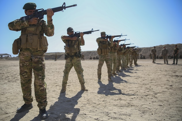 Iraqi soldiers with 2nd Battalion, Commando Brigade, Anbar Operations Command, practice their marksmanship skills during training with Task Force Al-Taqaddum, Combined Joint Task Force – Operation Inherent Resolve, in Iraq, April 17, 2017. This training is part of the overall CJTF-OIR building partner capacity mission by training and improving the capability of partnered forces fighting ISIS. CJTF-OIR is the global Coalition to defeat ISIS in Iraq and Syria. (U.S. Marine Corps photo by Cpl. Shellie Hall)