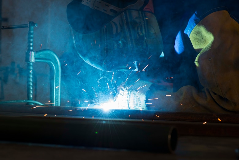 U.S. Air Force Staff Sgt. Ronald Bender, 39th Maintenance Squadron metals technology craftsman, welds a frame together May 30, 2017, at Incirlik Air Base, Turkey. The metals technology shop is capable of repairing, and in some cases, creating parts that are no longer in production. (U.S. Air Force photo by Airman 1st Class Devin M. Rumbaugh)