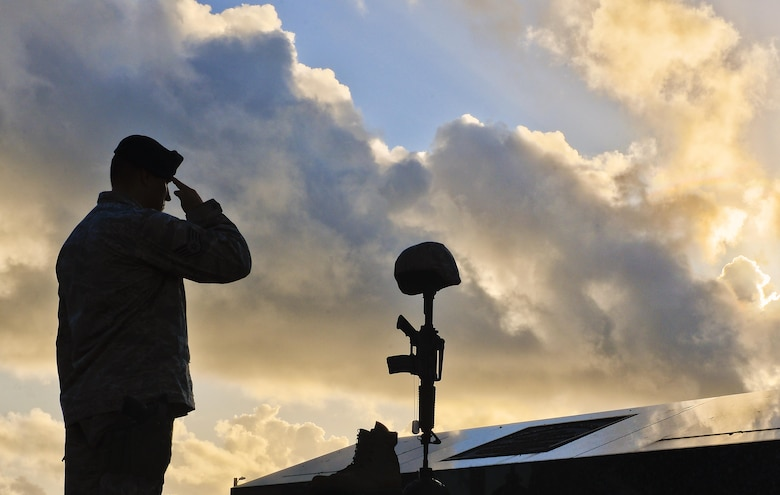 Staff Sgt. Joshua Collins, 36th Security Forces Squadron, salutes a fallen warrior memorial May 19, 2017, Andersen Air Force Base, Guam. Throughout the final day of National Police Week, Airmen honored the fallen. (U.S Air Force photo/Airman 1st Class Christopher Quail)