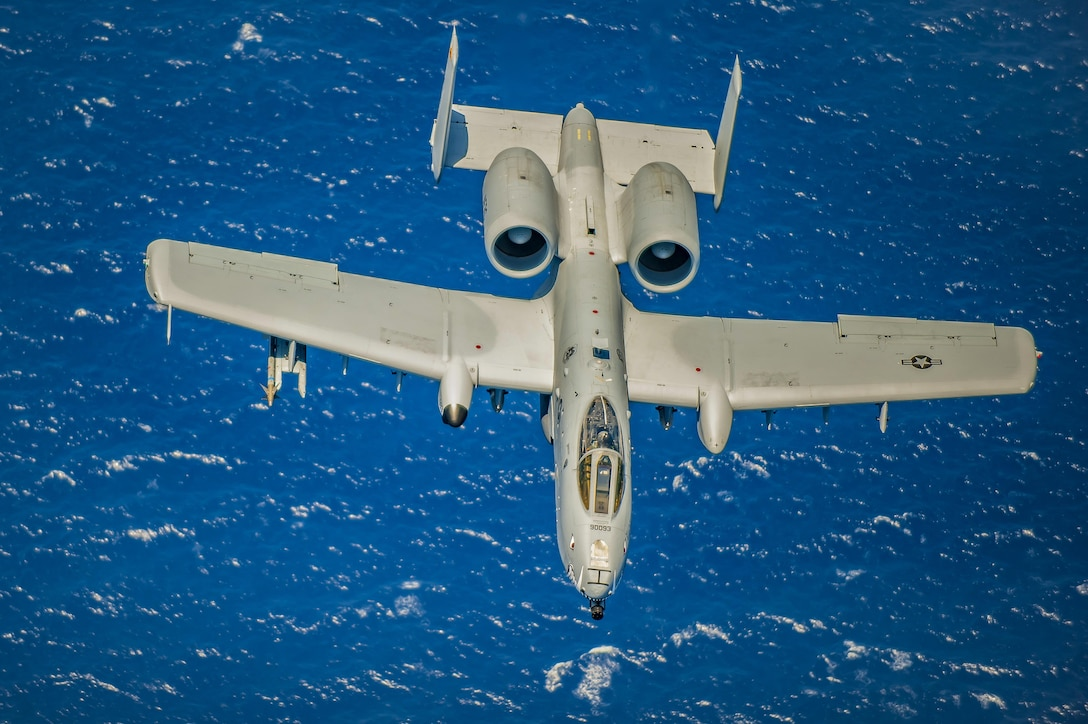 An A-10 Thunderbolt II from the 442nd Fighter Wing, out of Whiteman Air Force Base, Mo., flies over the Atlantic Ocean during the National Salute to America's Heroes Air and Sea Show media day May 26, 2017, at Miami Beach, Fla. Top tier U.S. military assets  assembled in Miami during Memorial Day weekend to showcase air superiority while honoring those who have made the ultimate sacrifice. The 442nd FW teamed up with two HH-60G Pave Hawks and an HC-130P/N Combat King aircraft from the 920th Rescue Wing and the 129th Rescue Wing  to headline the airshow by demonstrating combat search and rescue capabilities. (U.S. Air Force photo/Staff Sgt. Jared Trimarchi)