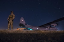 A fly away security team from the 1st Battalion, 153rd Infantry Regiment provides security for a C-130J May 26, 2017, during a cargo mission in Somalia, supporting the Combined Joint Task Force-Horn of Africa. CJTF-HOA promotes prosperity and security in East Africa by assisting partner nations with countering violent extremist organizations, fostering regional security cooperation, and by protecting U.S. personnel and facilities in its 10-country area of responsibility. (U.S. Air Force photo/Master Sgt. Russ Scalf)
