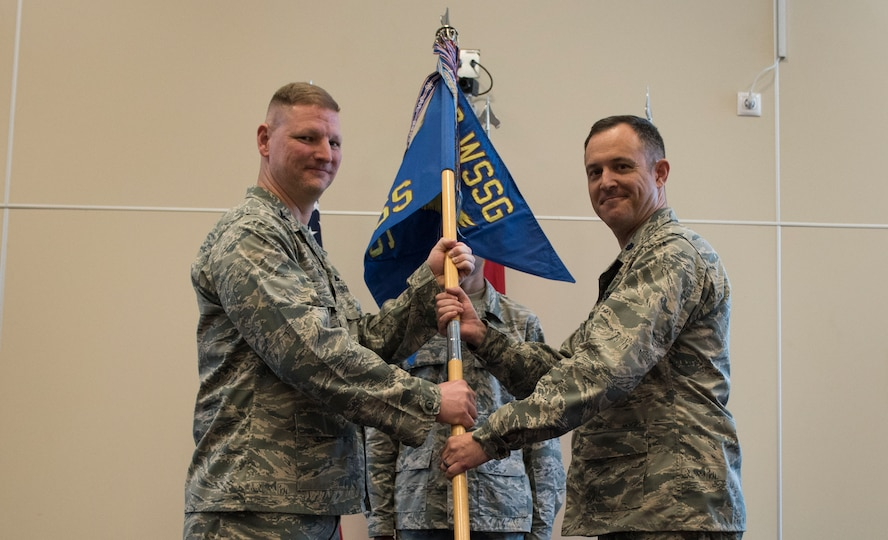 U.S. Air Force Lt. Col. Richard Swengros (right), 39th Operations Support Squadron incoming commander, assumes command of the 39th OSS from Col. James Zirkel, 39th Weapons System Security Group commander, during a change of command ceremony, June 1, 2017, at Incirlik Air Base, Turkey. The 39th OSS leads airfield and support operations to support U.S., and coalition forces operating here. (U.S. Air Force photo by Airman 1st Class Kristan Campbell)