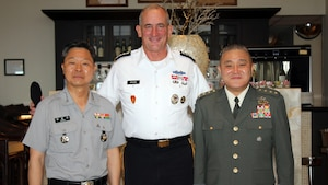 From left, South Korean Army Chief of Staff Gen. Jang Jun-Gyu, U.S. Army Pacific commander Gen. Robert B. Brown, and Japan Ground Self-Defense Force Chief of Staff Gen. Toshiya Okabe, met in Honolulu, May 23, 2017, before the 2017 Land Forces in the Pacific Symposium. Army photo by Lt. Col. Christine Nelson-Chung