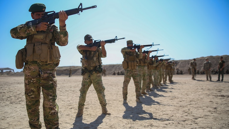 Iraqi soldiers with 2nd Battalion, Commando Brigade, Anbar Operations Command, practice their marksmanship skills during training with Task Force Al-Taqaddum, Combined Joint Task Force – Operation Inherent Resolve, in Iraq, April 17, 2017. This training is part of the overall CJTF-OIR building partner capacity mission by training and improving the capability of partnered forces fighting ISIS. CJTF-OIR is the global Coalition to defeat ISIS in Iraq and Syria.