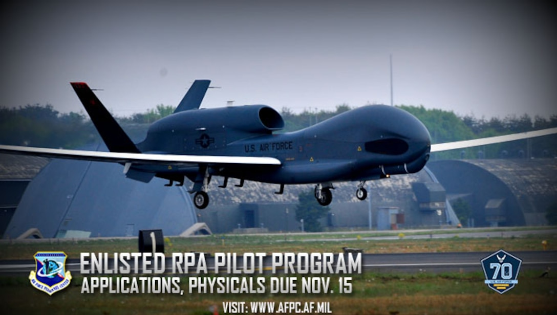 The application window is open for Airmen interested in becoming enlisted remotely piloted aircraft pilots as a part of the deliberate approach to enhance the Air Force's Intelligence, Surveillance and Reconnaissance mission. (U.S. Air Force graphic by Kat Bailey)