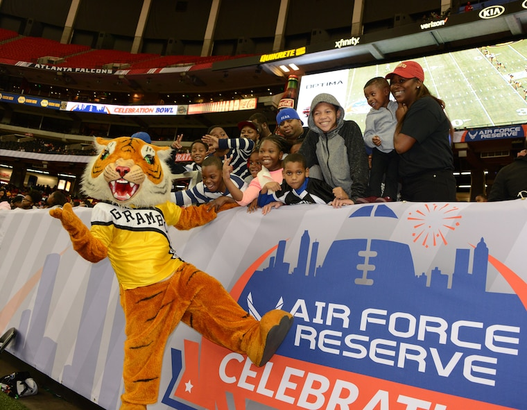Wheaton, a senior at Grambling State University in Lousiana, suited up as the school's mascot for the last time during the Air Force Reserve Command Celebration Bowl Dec. 17 in Atlanta. Grambling beat North Carolina Central 10-9. (U.S. Air Force photo by Master Sgt. Chance Babin)