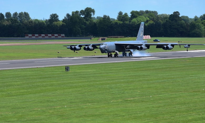 A B-52H Stratofortresses from Barksdale Air Force Base, La., touches down on the runway at RAF Fairford, U.K., June 1, 2017. These bombers will participate in exercises Saber Strike, Arctic Challenge and Baltic Operations (BALTOPS), in the European theatre. These operations and engagements with allies and partners demonstrate and strengthen America's commitment to global security and stability. (U.S. Air Force photo by Airman 1st Class Randahl J. Jenson)