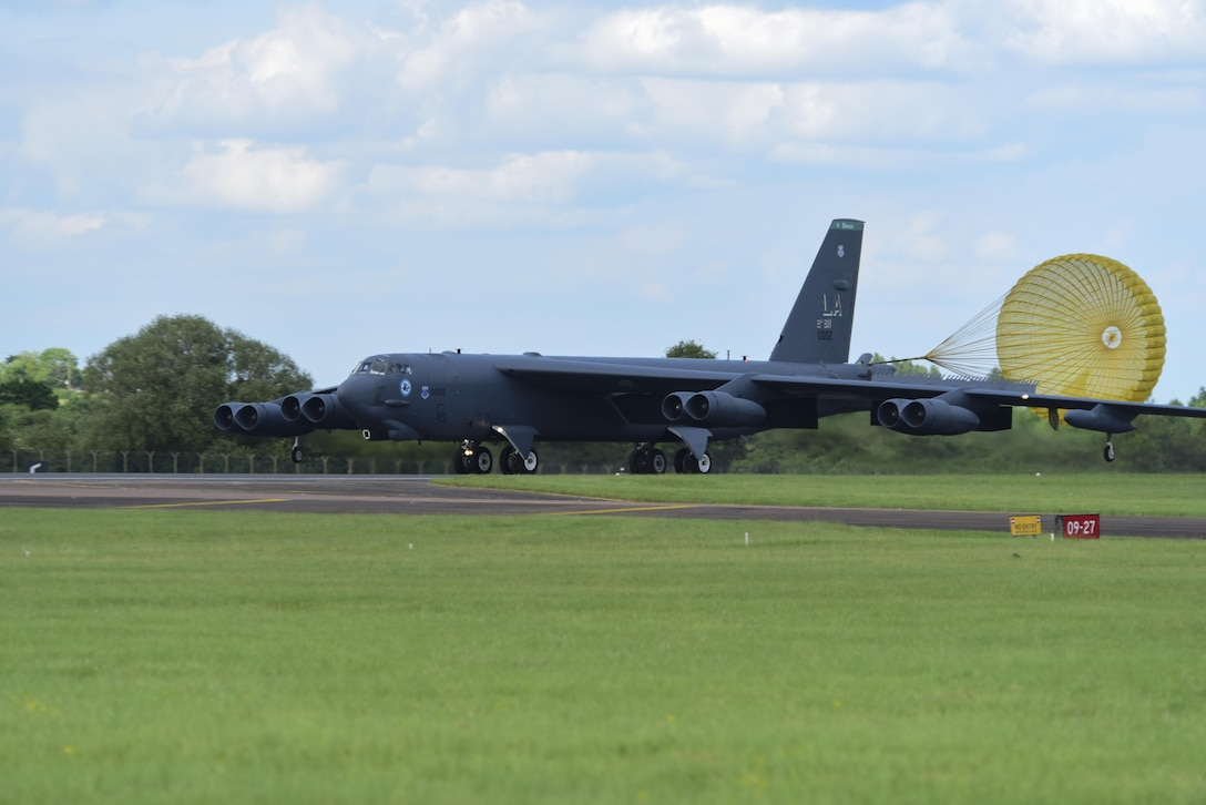 A B-52H Stratofortresses from Barksdale Air Force Base, La., lands on the runway at RAF Fairford, U.K., June 1, 2017. Bomber missions in the European theatre enable crews to maintain a high state of readiness and proficiency, and validate the Air Force's always-ready global strike capability. (U.S. Air Force photo by Airman 1st Class Randahl J. Jenson)
