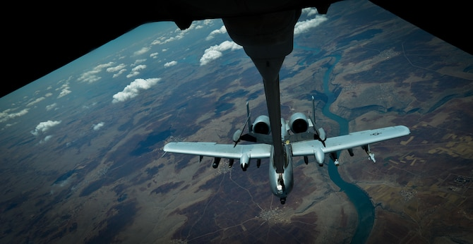 A U.S. Air Force A-10 Thunderbolt II  receives fuel from a 908th Expeditionary Air Refueling Squadron KC-10 Extender during a flight in support of Operation Inherent Resolve May 31, 2017.The aircraft can loiter near battle areas for extended periods of time and operate in low ceiling and visibility conditions. The wide combat radius and short takeoff and landing capability permit operations in and out of locations near front lines. (U.S. Air Force photo by Staff Sgt. Michael Battles)
