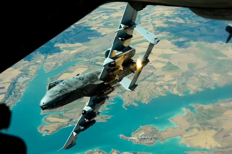 A U.S. Air Force A-10 Thunderbolt II  departs after receiving fuel from a 908th Expeditionary Air Refueling Squadron KC-10 Extender during a flight in support of Operation Inherent Resolve May 31, 2017.The aircraft can loiter near battle areas for extended periods of time and operate in low ceiling and visibility conditions. The wide combat radius and short takeoff and landing capability permit operations in and out of locations near front lines. (U.S. Air Force photo by Staff Sgt. Michael Battles)