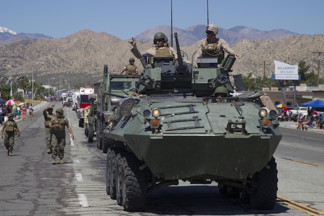 Marines with 3rd Light Armored Reconnaissance Battalion participate in the 67th annual Grubstake Days Parade along California Highway 62 in Yucca Valley, Calif., May 27, 2017. The town holds the annual Grubstake Days festival to commemorate the mining heritage of the Yucca Valley community. (U.S. Marine Corps photo by Sgt. Connor Hancock)