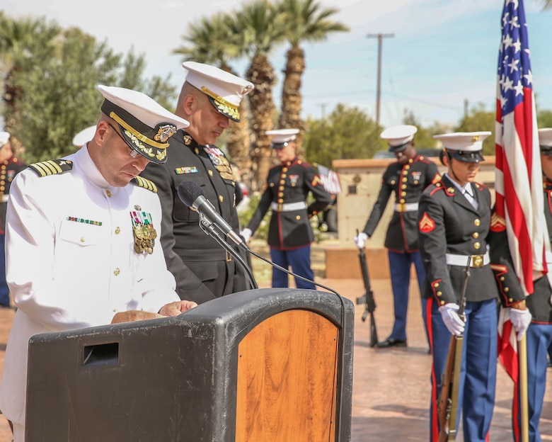 U.S. Navy Capt. Stephen Lee, Director of Religious Ministries at the Marine Corps Air Ground Combat Center, Twentynine Palms, Calif., gives the invocation at a Memorial Day event at the Twentynine Palms cemetery, Twentynine Palms, Calif., May 29, 2017. The annual event was held to honor America's fallen servicemembers.
