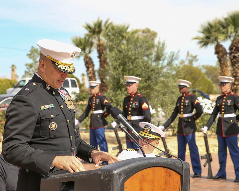Brigadier Gen. William F. Mullen III, Commanding General, Marine Corps Air Ground Combat Center, Twentynine Palms, Calif., gives a speech during a Memorial Day service at the Twentynine Palms cemetery, Twentynine Palms, Calif., May 29, 2017. The annual service was held to honor America's fallen servicemembers.