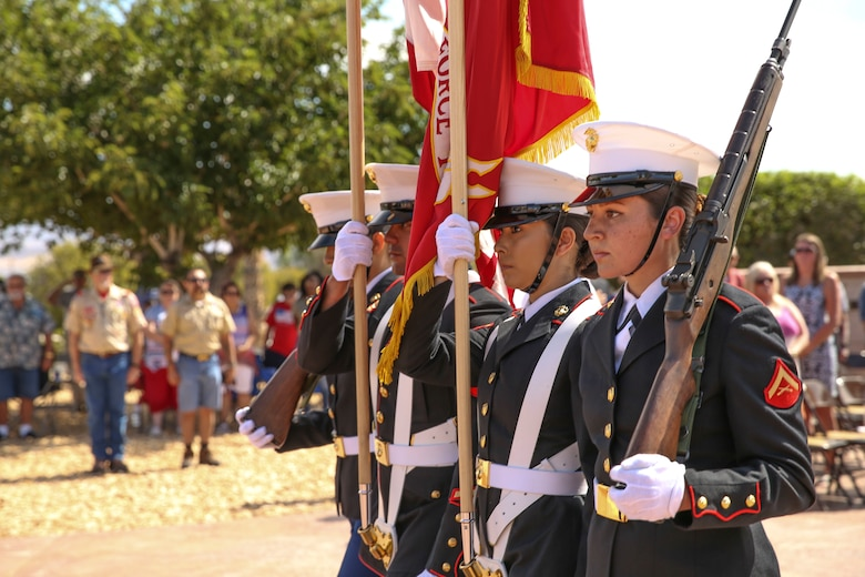 Marines from Headquarters Battalion Color Guard, Marine Corps Air Ground Combat Center, Twentynine Palms, Calif., participate in a Memorial Day service at the Twentynine Palms cemetery, Twentynine Palms, Calif., May 29, 2017. The annual ceremony was held to honor America's fallen servicemembers.