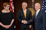 Defense Secretary Jim Mattis meets with Australian Prime Minister Malcolm Turnbull during the Shangri-La Dialogue in Singapore, June 2, 2017. DoD photo by Air Force Staff Sgt. Jette Carr