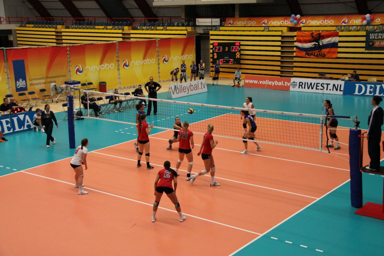 U.S. Armed Forces Women's Volleyball team playing in Amsterdam, Netherlands in 2012 at the CISM World Championship.