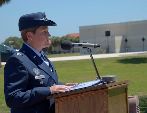 U.S. Air Force Col. Jennifer Barrett, vice commander of the 6th Air Mobility Wing, provides remarks during a Memorial Day ceremony at MacDill Air Force Base, Fla., May 26, 2017. The event was held prior to pay respect to fallen heroes prior to the holiday weekend. (U.S. Air Force photo by Staff Sgt. Vernon L. Fowler Jr.)