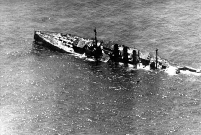 "Brig. Gen. William ""Billy"" Mitchell and First Provisional Brigade sank several obsolete World War 1 warships off the Virginia coast, July 1921. The former German battleship Ostfriesland was one of the warships included, and proved Mitchell's point that that warships were vulnerable to air attack. (Courtesy photo)"