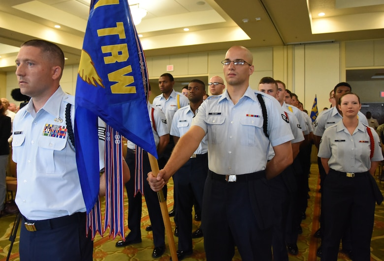 Airmen from the 81st Training Group stand in formation during the 81st Training Wing change of command ceremony at the Bay Breeze Event Center June 2, 2017, on Keesler Air Force Base, Miss. The ceremony is a symbol of command being exchanged from one commander to the next by the handing-off of a ceremonial guidon. (U.S. Air Force photo by Kemberly Groue)
