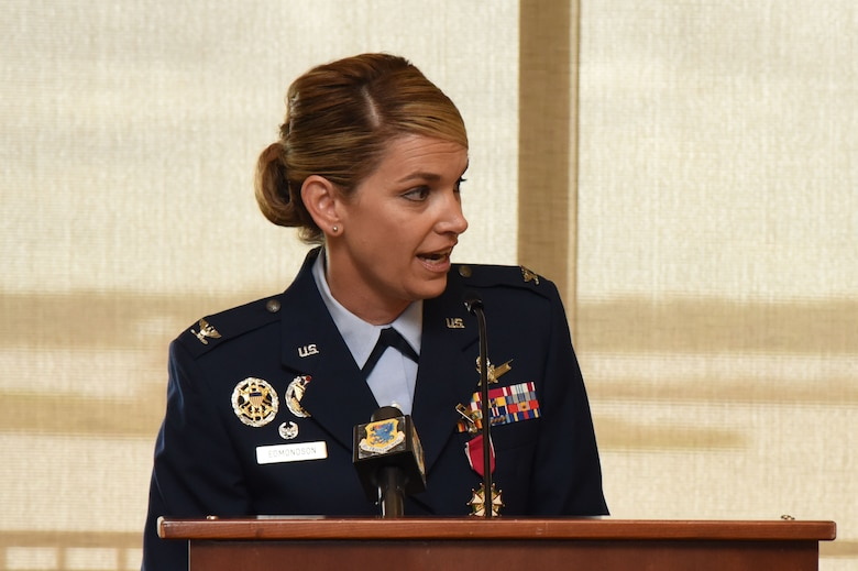 Col. Michele Edmondson, outgoing 81st Training Wing commander, gives her speech during a change of command ceremony at the Bay Breeze Event Center June 2, 2017, on Keesler Air Force Base, Miss. Edmondson is now assigned to be the executive officer to the vice chief of staff of the Air Force at the Pentagon in Washington D.C. (U.S. Air Force photo by Kemberly Groue)