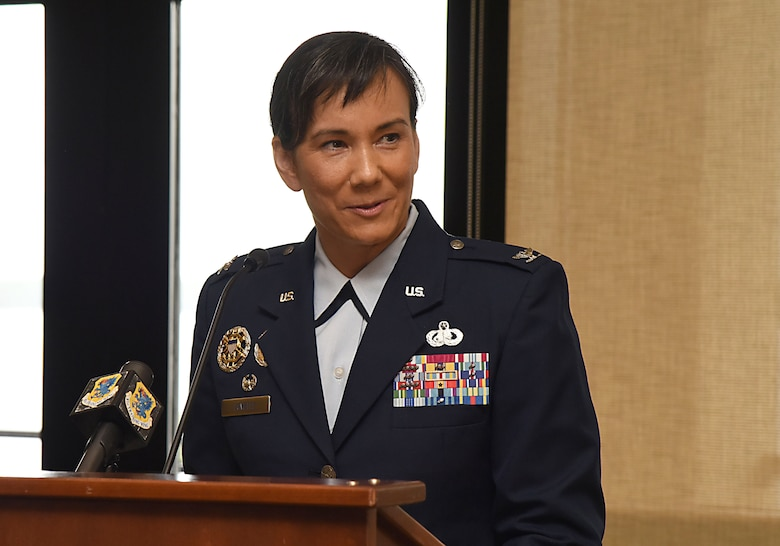 Col. Debra Lovette, 81st Training Wing commander, gives her speech during a change of command ceremony at the Bay Breeze Event Center June 2, 2017, on Keesler Air Force Base, Miss. Lovette assumed command from Col. Michele Edmondson. (U.S. Air Force photo by Kemberly Groue)