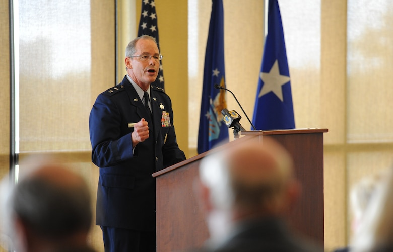 Maj. Gen. Bob LaBrutta, 2nd Air Force commander, delivers remarks during the 81st Training Wing change of command ceremony at the Bay Breeze Event Center June 2, 2017, on Keesler Air Force Base, Miss. Col. Michele Edmondson passed on command of the 81st Training Wing to Col. Debra Lovette. (U.S. Air Force photo by Kemberly Groue)