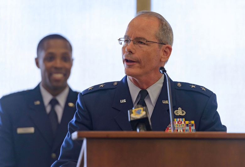 Maj. Gen. Bob LaBrutta, 2nd Air Force commander, delivers remarks during the 81st Training Wing change of command ceremony at the Bay Breeze Event Center June 2, 2017, on Keesler Air Force Base, Miss. Col. Michele Edmondson passed on command of the 81st Training Wing to Col. Debra Lovette. (U.S. Air Force photo by André Askew)