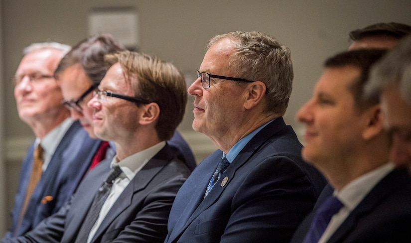 Deputy Defense Secretary Bob Work hosts his counterparts and government officials from eight Nordic-Baltic countries for a dinner at Carnegie Library in Washington, June 1, 2017, in advance of a Nordic-Baltic Forum the following day at Marine Corps Base Camp Lejeune, N.C. DoD photo by Air Force Tech. Sgt. Brigitte N. Brantley