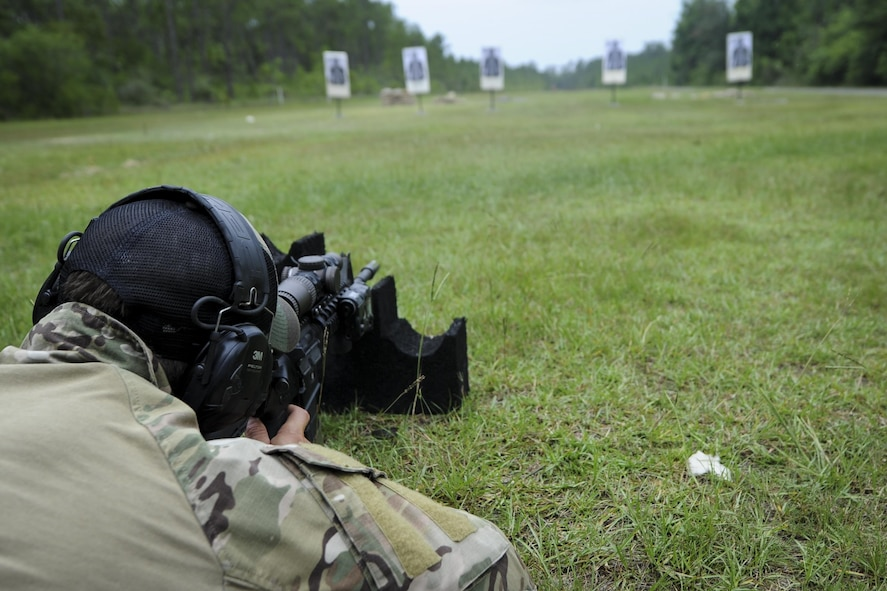 Senior Airman Dylan Hudson, a Deployed Aircraft Ground Response Element medical specialist with the 1st Special Operations Security Forces Squadron, zeros on a target during a training exercise at Hurlburt Field, Fla., June 1, 2017. Zeroing on a target is a sight setting technique on firearms that improves the shooter's accuracy. (U.S. Air Force photo by Airman 1st Class Dennis Spain)